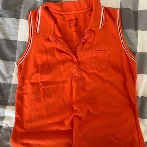 Orange sleeveless polo dress